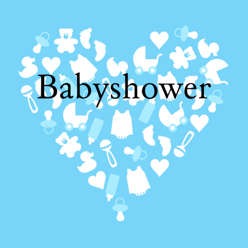 Uitnodiging babyshower boy heart 1