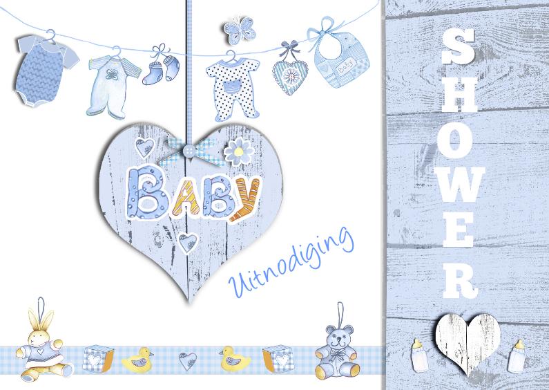 uitnodiging babyshower jongen hart 1