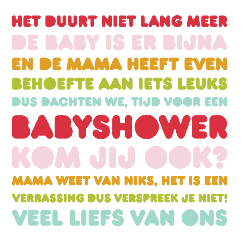 Uitnodiging Babyshower Letters Bijna 1