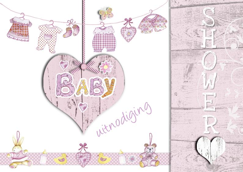 uitnodiging babyshower met hart 1