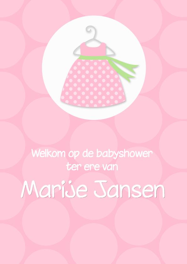 Uitnodiging babyshower polkadots roze 1