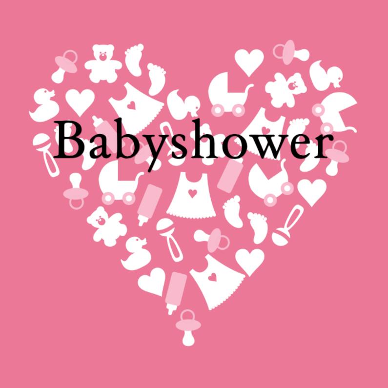 Uitnodiging babyshower roze hart 1