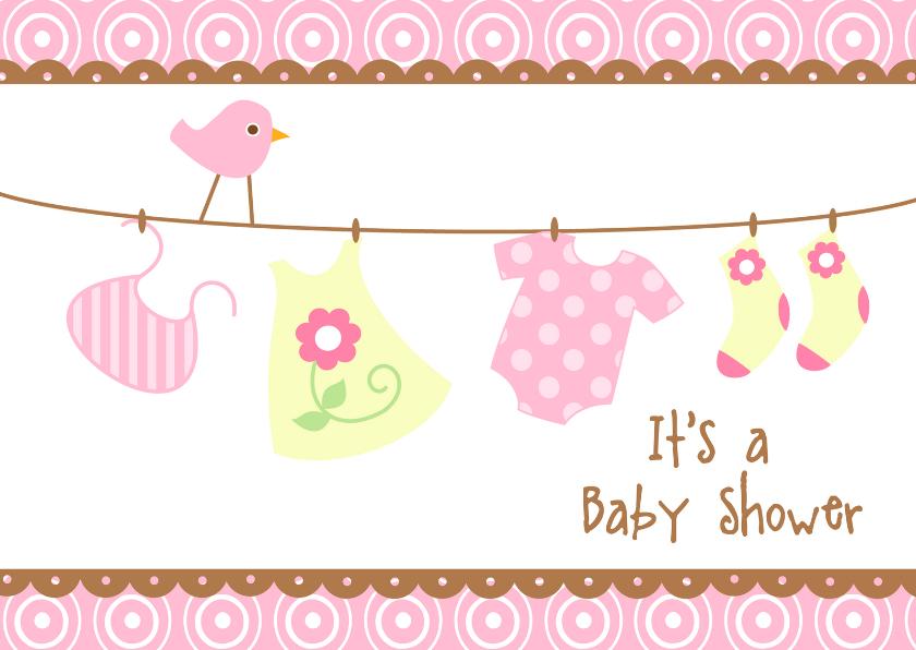 Uitnodiging babyshower roze 1