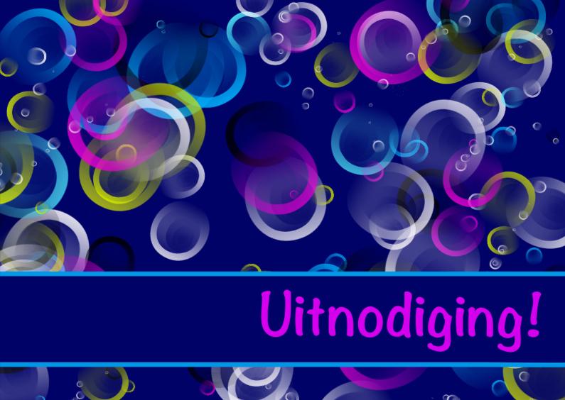 Uitnodiging bubbels blauw 1