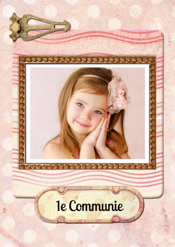 Uitnodiging communie roze 1