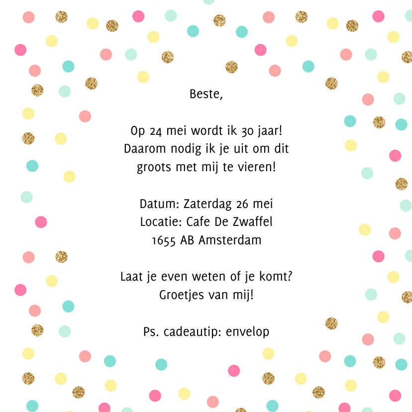 Uitnodiging confetti feest 3