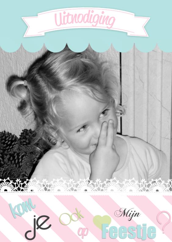 Uitnodiging  eigen Foto Meisje 1