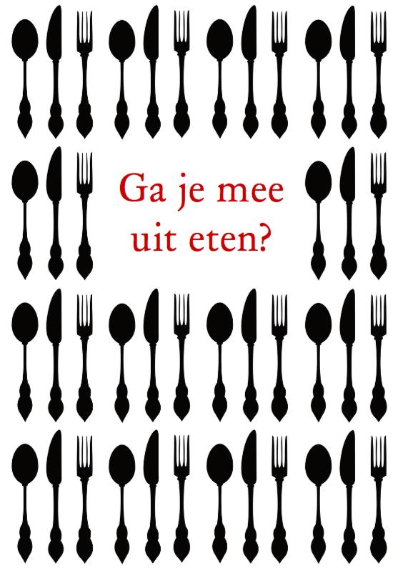 Uitnodiging etentje zwart & wit 1