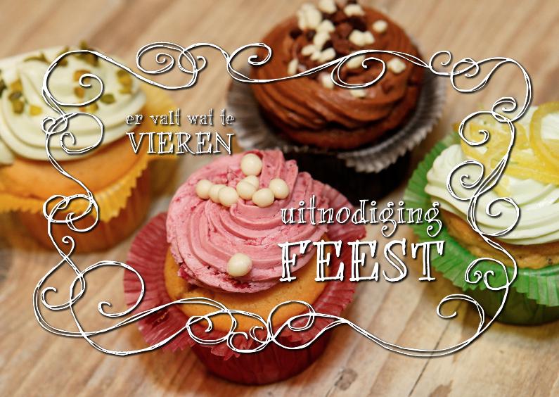 Uitnodiging Feest 3 - cupcakes 1