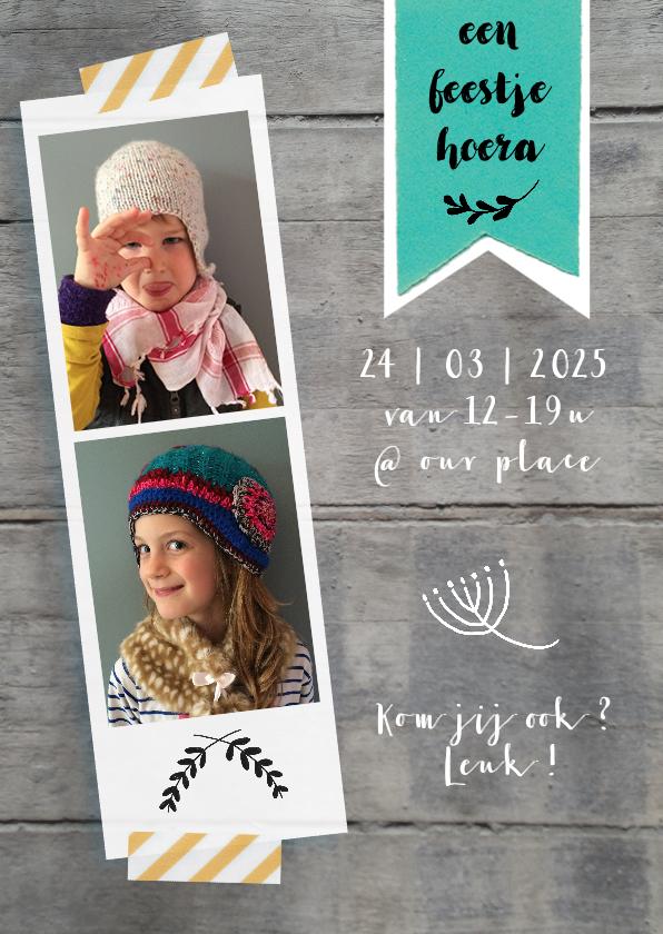 uitnodiging feest pasfoto lief 1