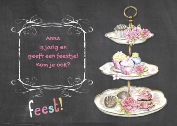 uitnodiging feest taartjes 2