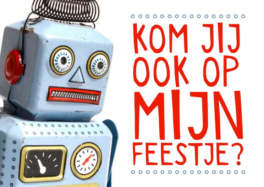 Uitnodiging feestje retro robot 1