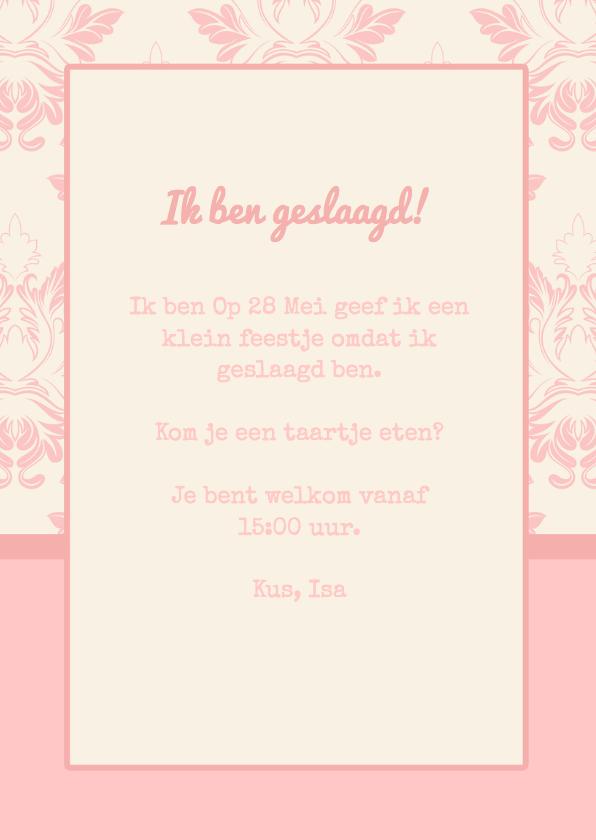 Uitnodiging geslaagd Roze foto 3