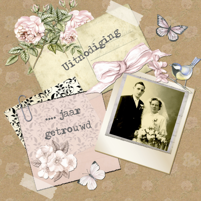uitnodiging jubileum  postcard vintage 1
