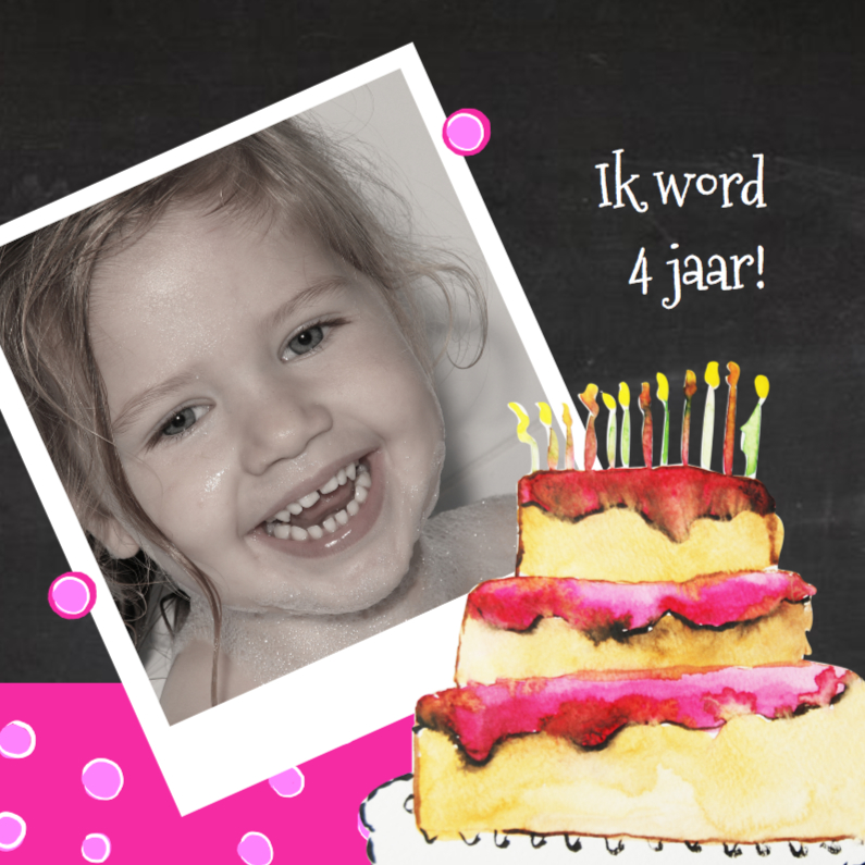 uitnodiging kinderfeest taart 1
