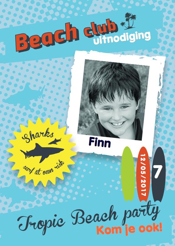 Uitnodiging Kinderfeestje Tropic Beach 1