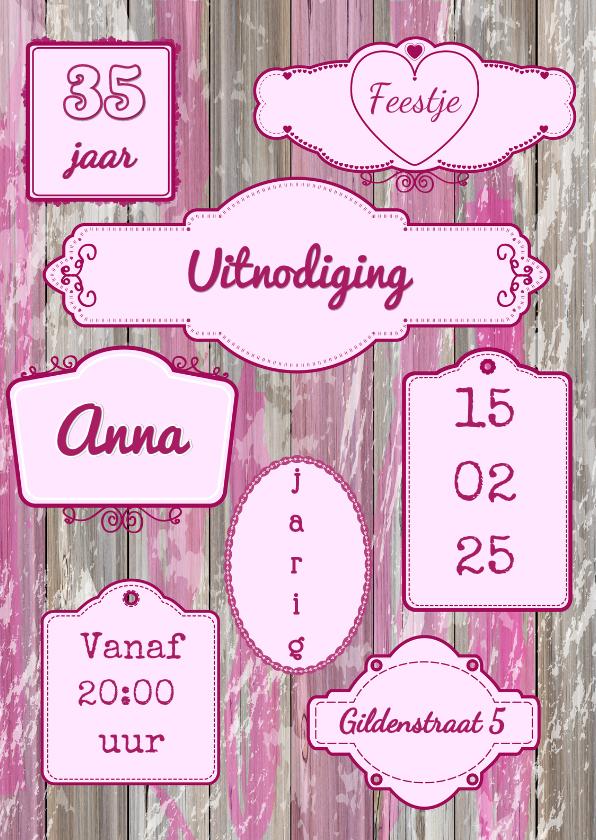 Uitnodiging Label roze S 1