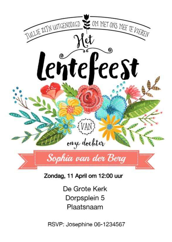 Uitnodiging Lentefeest Bloemen 1