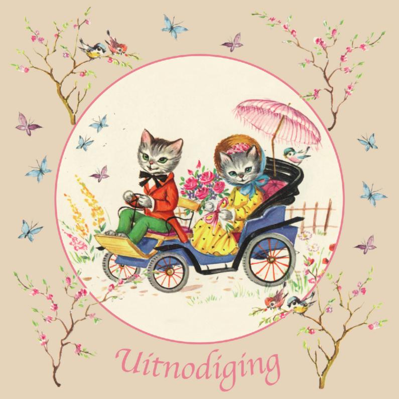 Uitnodiging met retro kittens 1