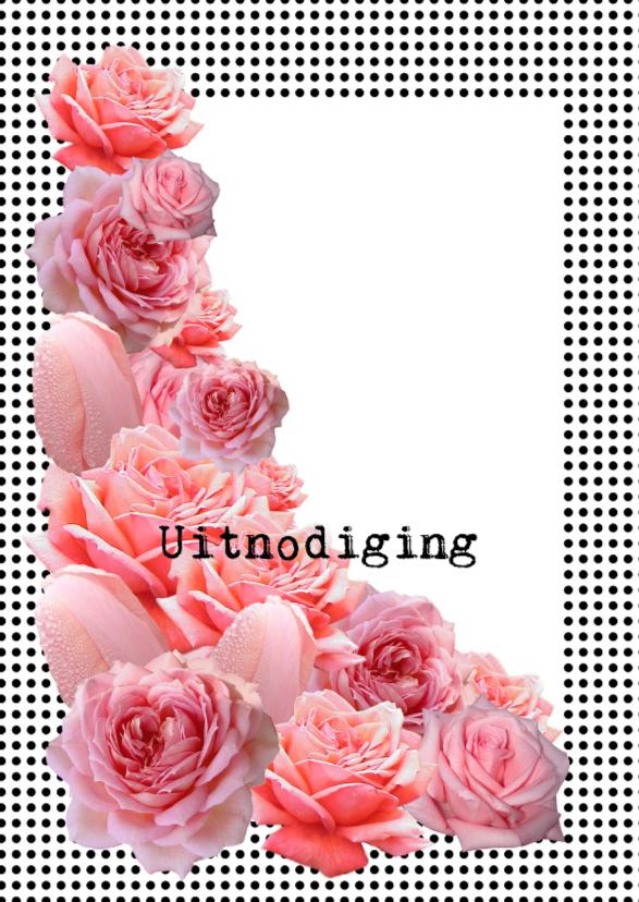 Uitnodiging met roze rozen 1