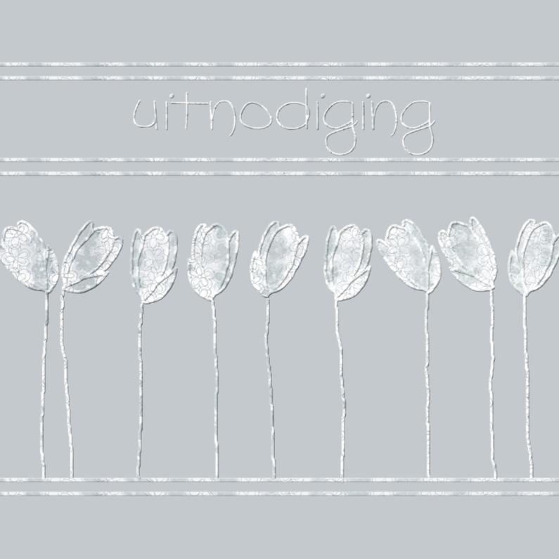 Uitnodiging met tulpjes in lila 1