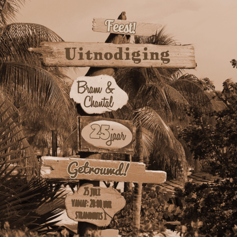 Uitnodiging palm hout SEPIA 4knt 1