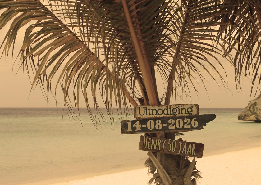 Uitnodiging Palmboom op strand L 1