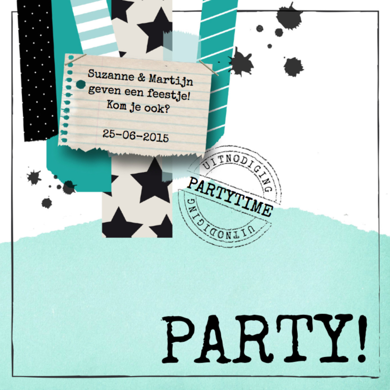 Uitnodiging Party Mint&Black 1