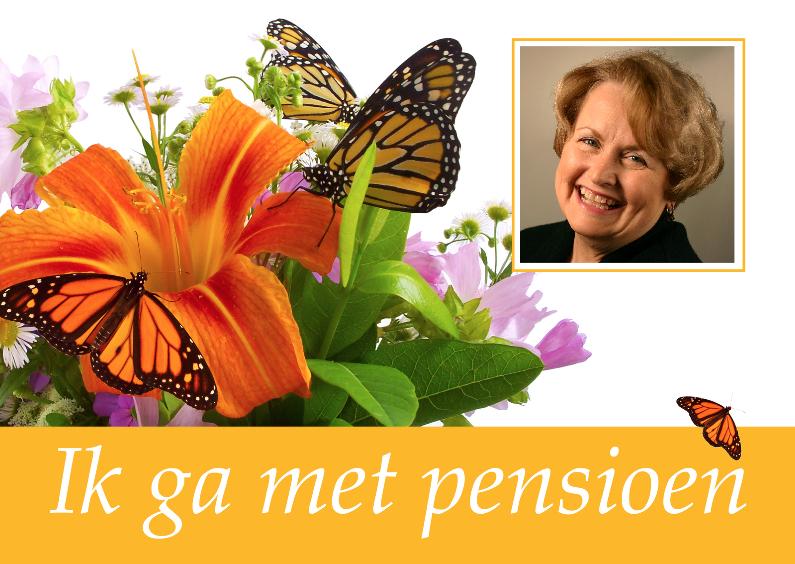 Uitnodiging pensioen met bloemen 1