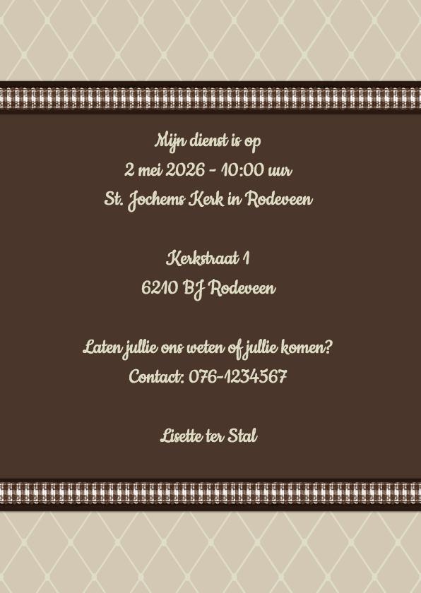 Uitnodiging ruitjes beige - BK 3