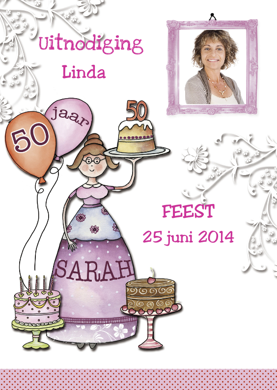 Uitnodiging Sarah met taart 1