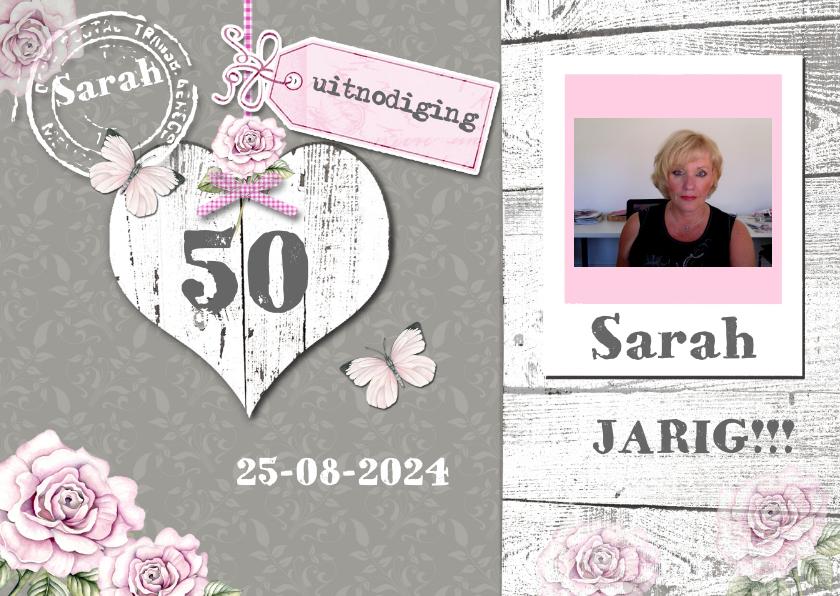uitnodiging Sarah vintage hart en foto 1