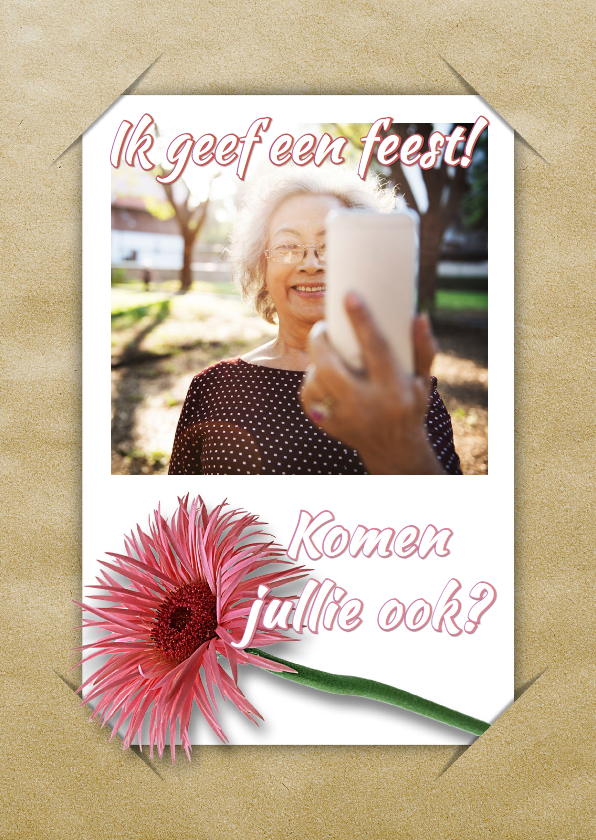 Uitnodiging selfie en bloem RB1 1