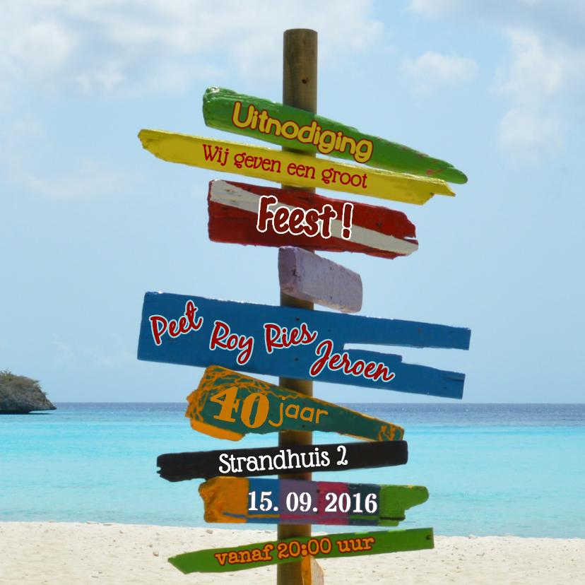 uitnodiging strand paal kleur 1