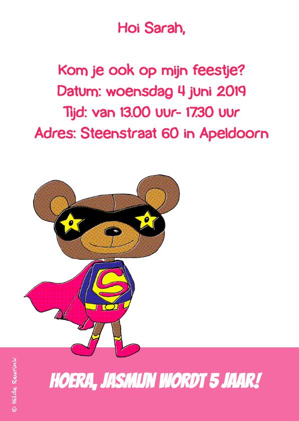 Uitnodiging superbeer roze-HR 2