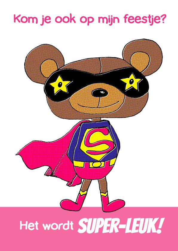 Uitnodiging superbeer roze-HR 1