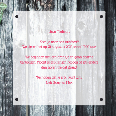 Uitnodiging Tuinfeest - DH 3