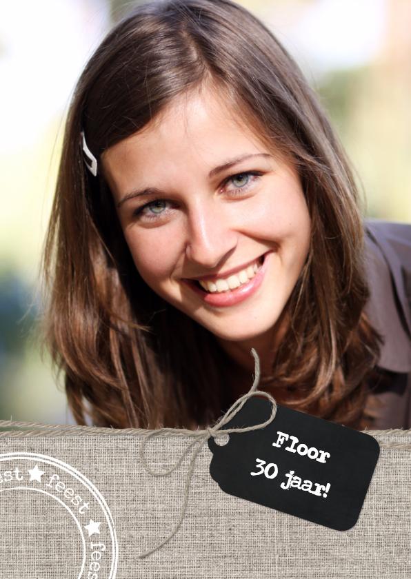 Uitnodiging Verjaardag Linnen Label 1