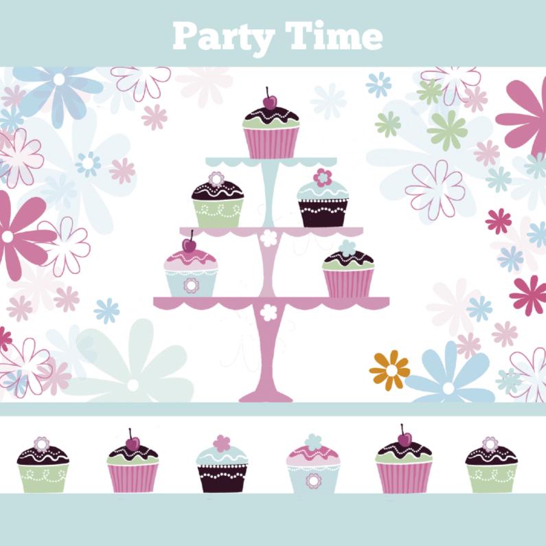 uitnodiging verjaardagfeest cupcakes 1