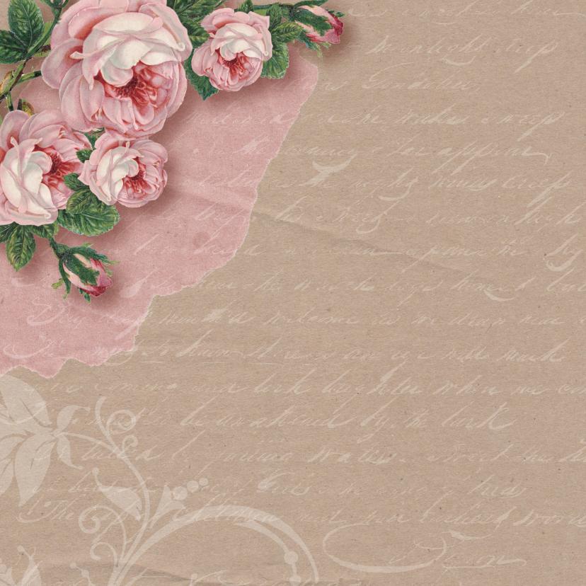 Uitnodiging vintage kraft rozen 2