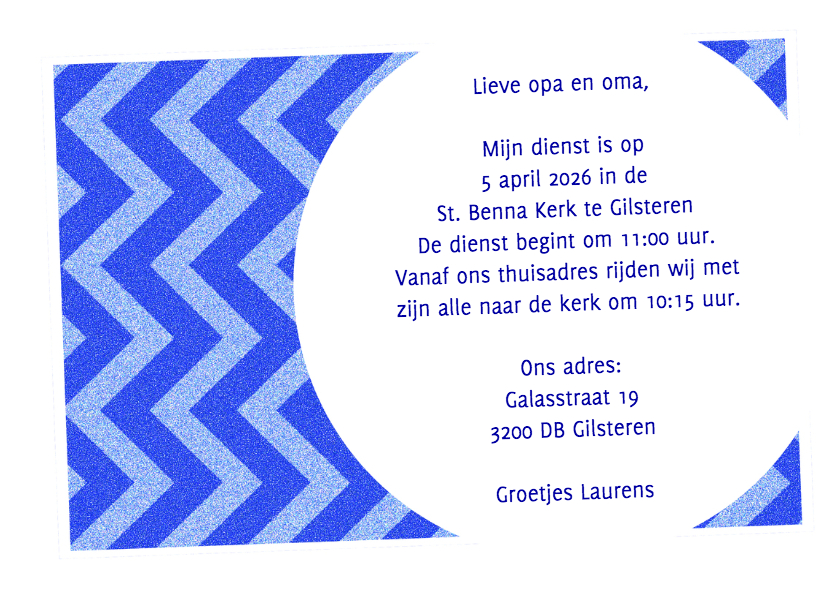 Uitnodiging zigzag blauw - BK 3