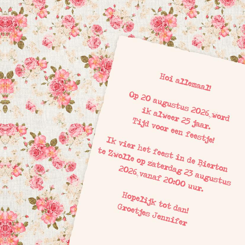 Uitnodiging zoet roze rozen - DH 3