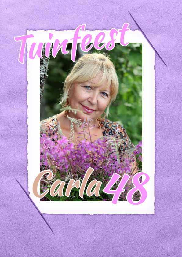 Uitnodigingskaart vintage paars 1