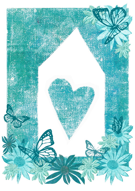 verhuiskaart bloemen vlinders en hart 1