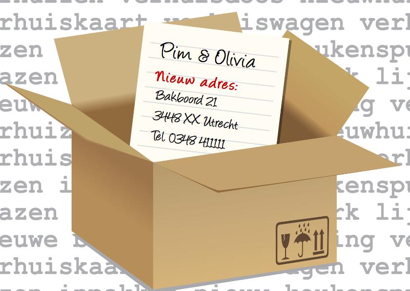 Verhuiskaart dozen met brief 1