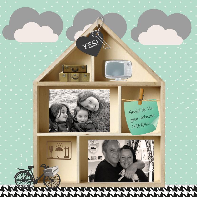 Verhuiskaart houten letterbak huis 1