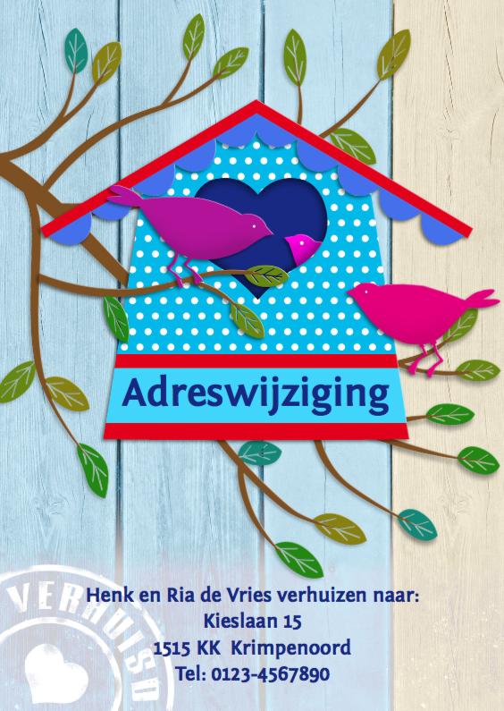 Verhuiskaart met huis en vogels 1