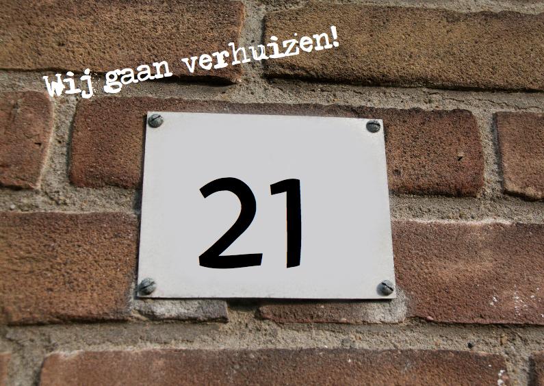 Verhuiskaart met huisnummer 1