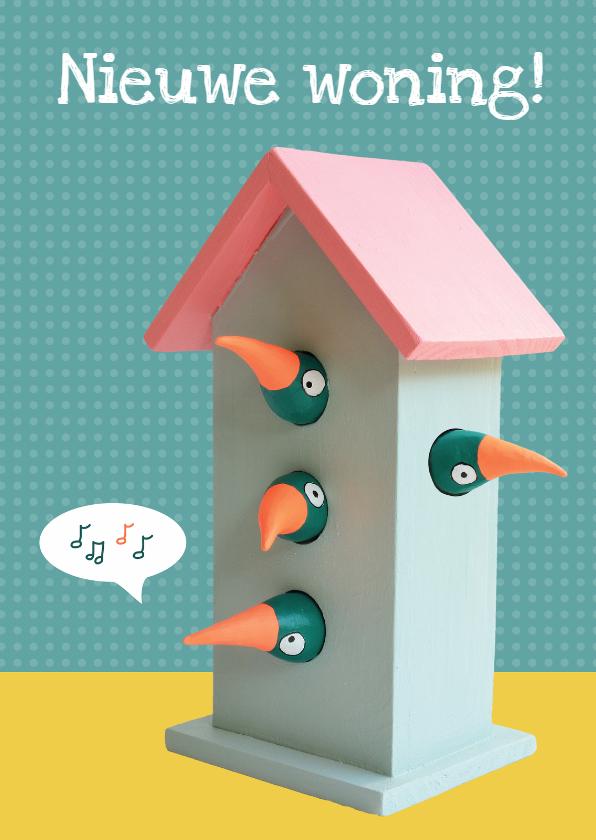 Verhuiskaart vogelhuis 4 vogels 1