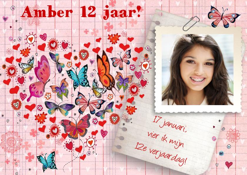 Verjaardag FEEST meisje Hartje Vlinders 1